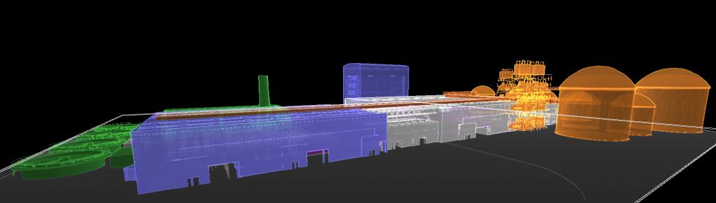 Modèlisation 3D d'un site industriel intégrant le BIM, comprenant des bâtiments adiministratifs, au sein de la GMAO Altair Enterprise