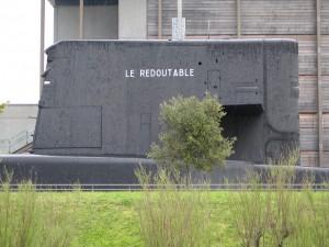 Le Redoutable,  premier sous-marin nucléaire Français, fièrement exposé à la Cité de la Mer de Cherbourg.